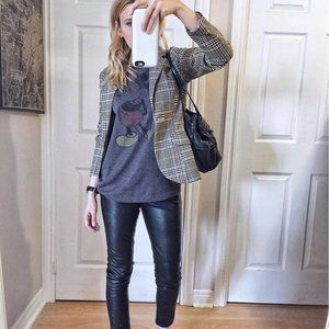 H&M Brown Check Blazer With Elbow Patches